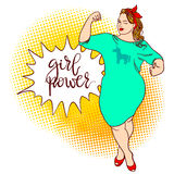 Curvy cartoon girl. Inscription: girl power. Comic pin-up, hand Stock Photo