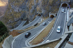 The curvy and dangerous road of San Boldo pass. Royalty Free Stock Photo