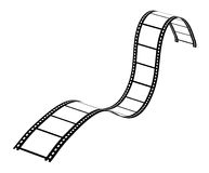 Curvy Filmstrip. On white background. Vector EPS Stock Image