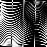 Curvy, het golvende element van de lijnen abstracte meetkunde Zwart-wit distor stock illustratie