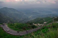 Curvy Heuvelige wegen van Darjeeling stock afbeelding
