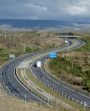 Curvy highway. At northern Spain Royalty Free Stock Images