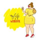 Curvy Karikaturmädchen mit Donut Aufschrift: mein Leben ist wunderbar stock abbildung