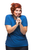 Curvy kobiety łasowania czekolada Fotografia Stock