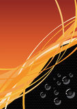 Curvy lines and bubbles. With orange and black background royalty free illustration