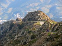 Curvy mountain road. With people walking, Banyuls sur Mer Stock Image