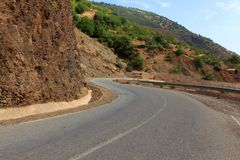 Curvy mountain road, Asphalt road in summer forest. Morocco lanscape Royalty Free Stock Photo