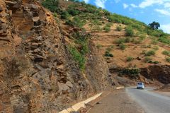 Curvy mountain road, Asphalt road in summer forest,. Morocco lanscape Royalty Free Stock Photography