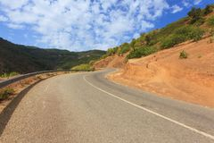 Curvy mountain road, Asphalt road in summer forest,. Morocco lanscape Royalty Free Stock Photos