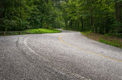 Curvy Mountain Road. Looking up the curvy road that winds through forests as it snakes its way up Black Rock Mountain in northern Georgia on a summer day royalty free stock photography