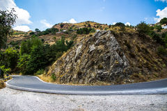 Curvy mountain road in Mediterranean mountains Royalty Free Stock Image