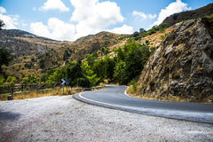 Curvy mountain road in Mediterranean mountains Stock Photos