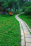 A curvy path in a park royalty free stock photography