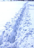 Curvy path in snow. Long and curvy pathway in deep snow Royalty Free Stock Images