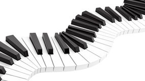 Curvy piano keyboard. Render of curvy piano keyboard, isolated on white Royalty Free Stock Image