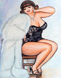 Curvy Pin up woman Painting Royalty Free Stock Photo