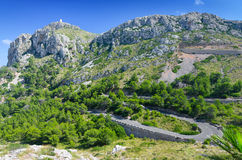 Curvy Pollenca roads on Mallorca. Volcanic hills with curvy tropical road on Majorca stock images