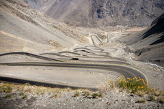 Curvy road between Chile and Argentina Stock Images