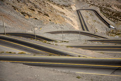 Curvy road between Chile and Argentina Royalty Free Stock Photo