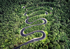 Curvy road from the high mountain pass in Transfagarasan, Romania. royalty free stock photography