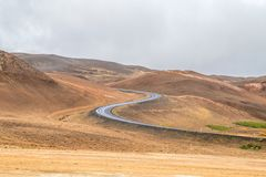 Curvy Road in Iceland. Curving roadway along Iceland`s Ring Road Highway in Northern Iceland. curving, road, road trip, travel, highway, landscape, curvy, myvatn royalty free stock photography