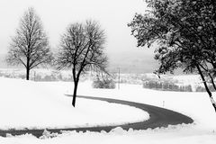 A curvy road in the midst of snow, with some trees at the sides. A curvy road in the midst of snow with some trees at the sides Royalty Free Stock Photo