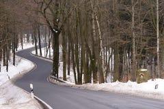 Curvy road in National Park. Saechsische Schweiz - Saxon Switzerland National Park, Germany stock photography