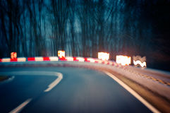 Curvy Road at Night Stock Image
