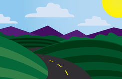 Curvy Road Scene. With mountains in the background Stock Images