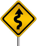 Curvy road sign. Isolated over white Royalty Free Stock Image