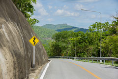 Curvy road sign. On a country road ,Thailand royalty free stock photo