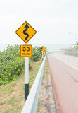 Curvy road sign Royalty Free Stock Images