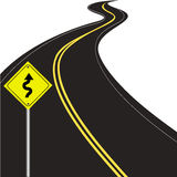 Curvy road. Traffic warning sign  on white background Royalty Free Stock Photography