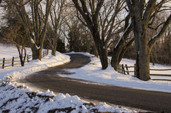 Curvy Road in Winter Stock Image