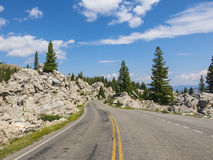 Curvy road in Yellowstone National Park Stock Photos