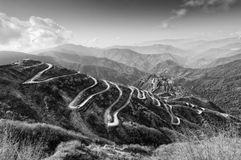 Curvy roads , Silk trading route between China and India Stock Photo