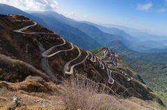 Curvy roads , Silk trading route between China and India Royalty Free Stock Photography