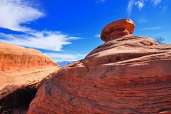 Curvy rock formation, Arches national Park Royalty Free Stock Images