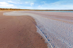 Curvy salt deposits on the beach of pink salt Lake Kenyon Royalty Free Stock Images