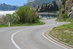 Curvy seaside road Stock Image
