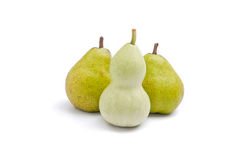 Curvy shaped body vs pear shaped body. Use trigonella to represent women's curvy shape and pear to represent pear shaped body Stock Photos