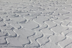 Curvy Ski Tracks In The Snow Royalty Free Stock Photos