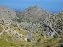 Curvy street on the way to Sa Calobra, Mallorca, Ballears Royalty Free Stock Photography