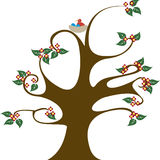 Curvy tree with nest vector illustration Stock Image