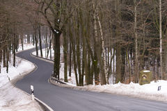 Curvy väg i nationalpark arkivbild