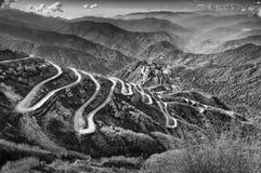 Curvy vägar, siden- handelrutt mellan Kina och Indien arkivbild