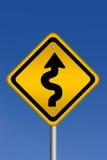 curvy vägmärkevarning royaltyfri illustrationer