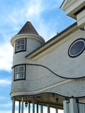 Curvy Victorian Seaside Home, NJ. Detail of old Victorian house by the sea in historic coastal town of Ocean Grove, New Jersey.  One of 3 views Royalty Free Stock Photo