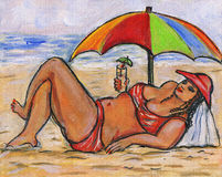 Curvy woman on the beach Royalty Free Stock Photo