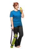 Curvy woman carrying yoga mat. On the white background Stock Photos